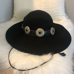 Vintage Wool Boho Festival Concho Crushable Hat